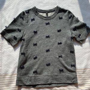 JCrew Short Sleeve Sweater Bow Shirt
